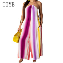 TIYE Purple Sexy Sleeveless Halter Striped Pocket Wide-leg Jumpsuit Female Women Summer Holiday Party Casual Loose Playsuit