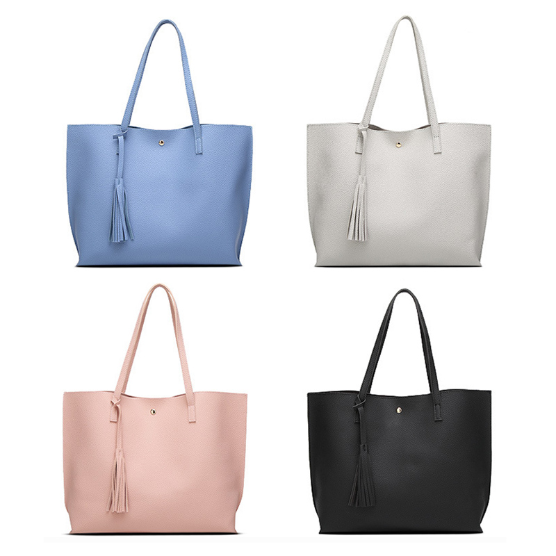 Simple Fashion Women Handbags Leather Solid Color Tassel Pendant Big Capacity Korean Ladies Shopping Travel Hand Bag Pop in Shoulder Bags from Luggage Bags