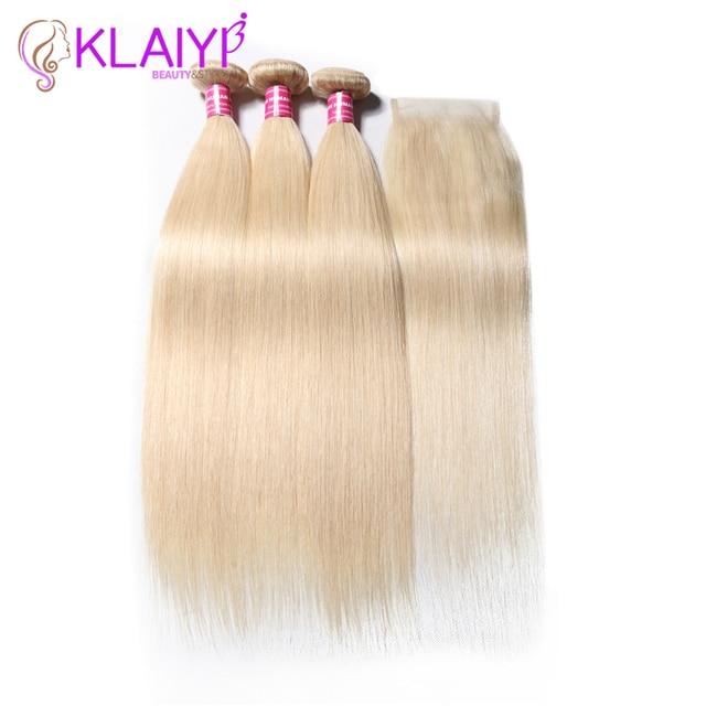 $ US $107.85 KLAIYI Hair Brazilian #613 Straight With Closure 4 PCS Remy Hair Weave Bundles With Closure Human Hair 3 Bundles With Closure