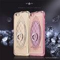 Electroplate parachoques de lujo Del Diamante de Cristal anillo de oro plata stander de silicio suave flip case para iphone 6 6 s plus 7/7 plus