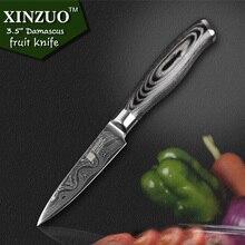"""Xinzuo 3,5 """"4-zoll-gemüsemesser 73 schichten japan damaskus küchenmesser sharp peeling obstmesser farbe holzgriff kostenloser versand"""
