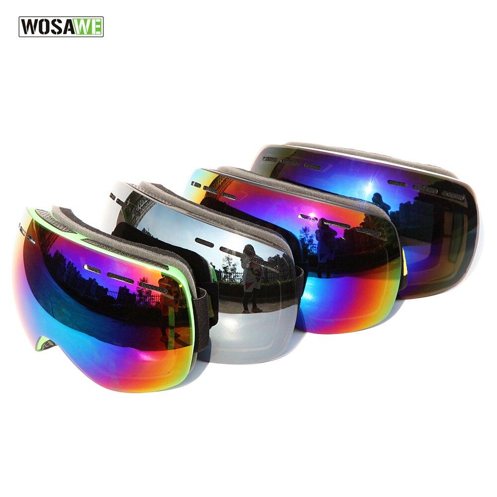 WOLFBIKE лыжные очки двойной линзы анти-туман большие сферические профессиональные Лыжный Спорт Очки многоцветная снежные очки UV400 Защита от с...