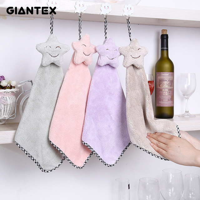 GIANTEX Lovely Smile Star Super Soft Absorbent Microfiber Hand Towel Hanging Bathroom Kitchen Towel Cleaning Cloth 25x40cm U1129