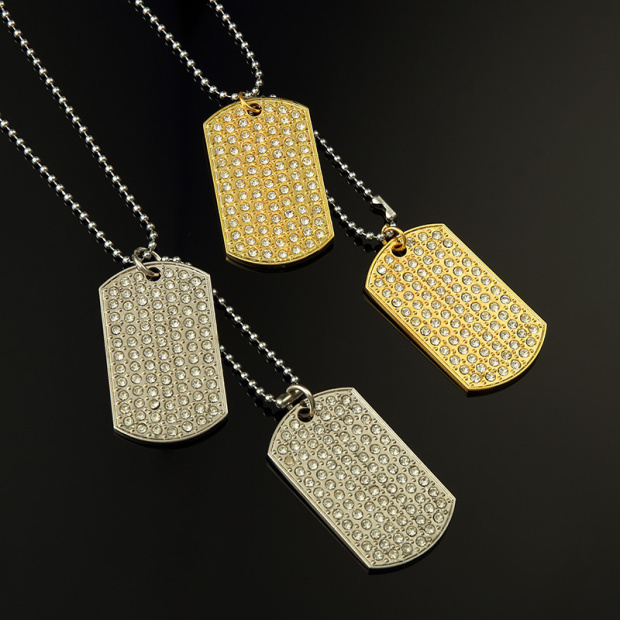 2015 Pyrex Gold Dog Tag Chain Silvery Pendant Crystal Rhinestone Men