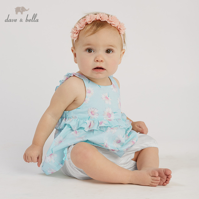 DBA9379 Dave bella summer baby girls clothing sets children cute floral suits  infant high quality clothes girls pullover outfit
