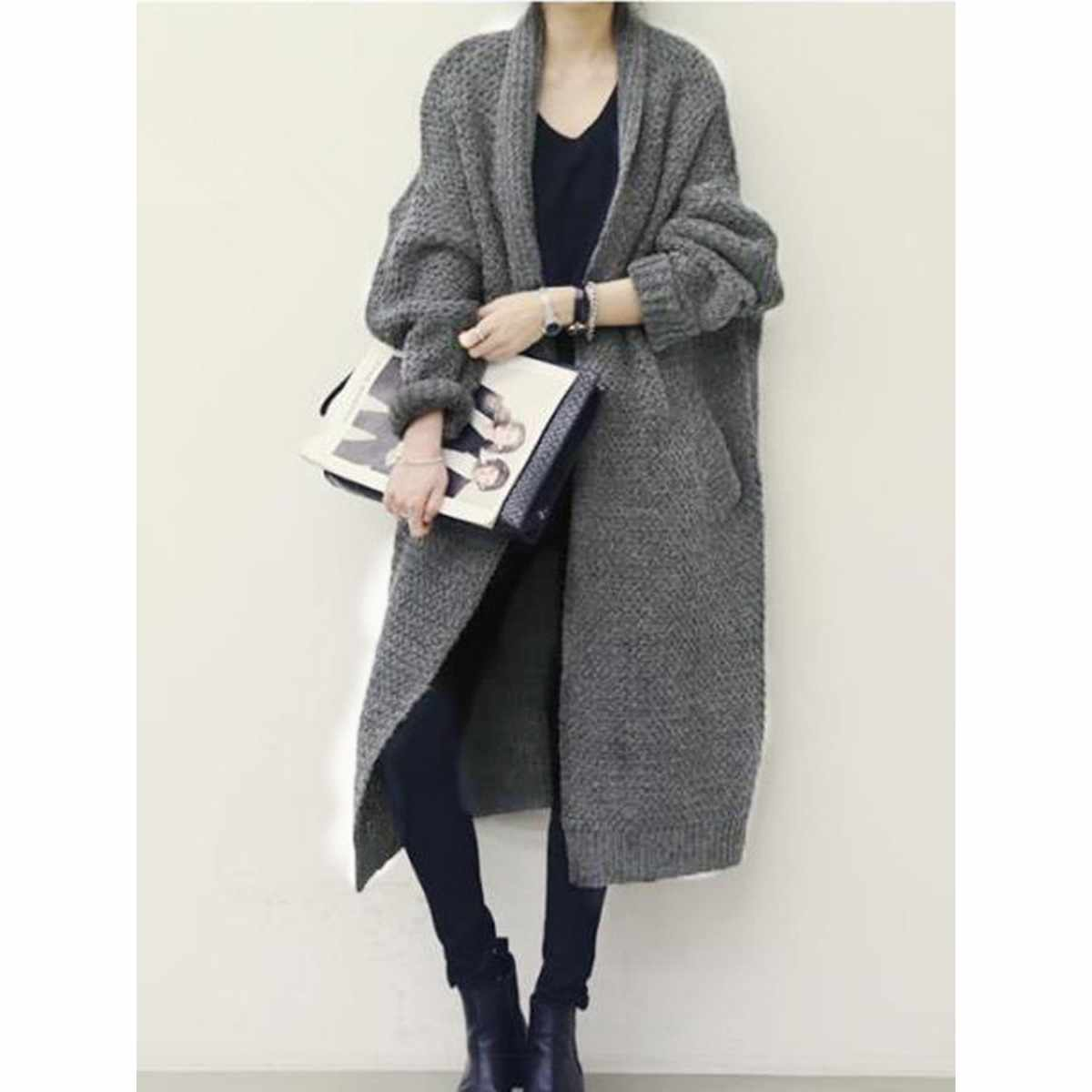 Women 2018 winter sweaters ladies plus size black coarse wool  lapel thick knitwear gray oversize fashion loose elegant cardigan