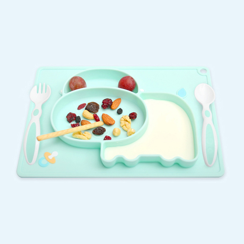 Children Tableware Baby Plate Food Feeding Bowl Dishes With Suction Cup Kids Silicone Container Toddler Dinnerware Placemat Cute(China)