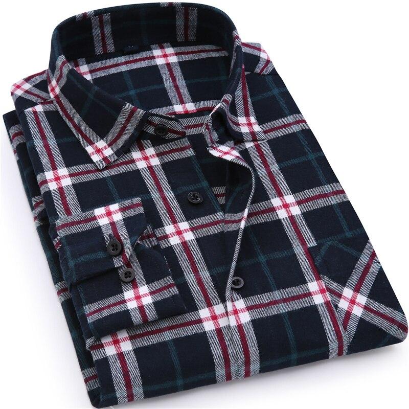 Men Flannel Plaid Shirt 100% Cotton 18