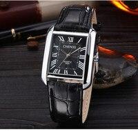 2016 New Luxury CHENXI Black Rectangle Rome Dial Leather Quartz Wristwatches Wrist Watch For Men Women