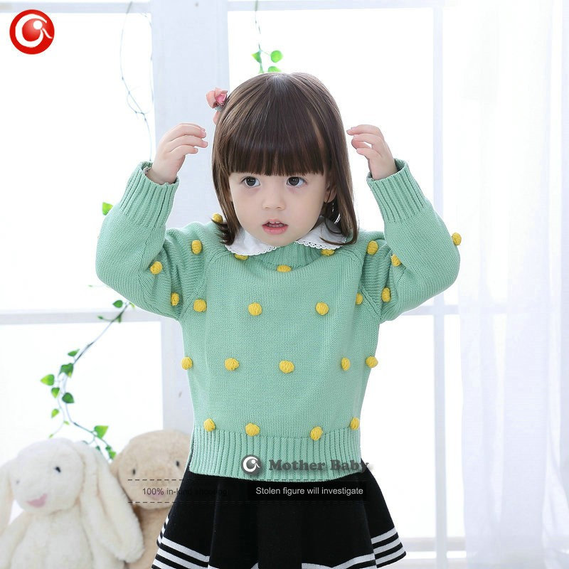Kids Tinny Cotton Boys Sweater Children Pullover Cardigan Coat For Girls Baby Long Sleeve Knitwear Christmas Clothes With Balls (13)