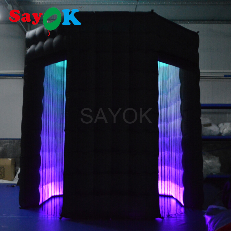SayOK Inflatable Photo Booth Octagon(2 Doors) 8ftx8ft with 17 color LED Light Inflatable Backdrop Photo Booth Wedding