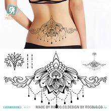 24X13.8cm Body Wreath Sexy Tatuagem Taty Sex Product Temporary Tattoo Black Lace Water Drop Waist Circle Tatoo Sticker Tatuajes