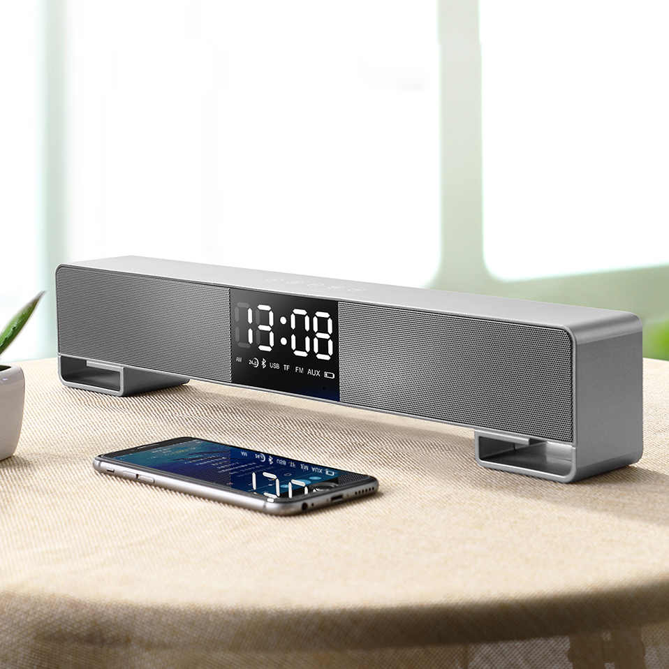 Portable Column Bluetooth Speaker 3D Surround Subwoofer HIFI Soundbar LED Display FM Bluetooth Boombox for Phone TV Computer цена 2017