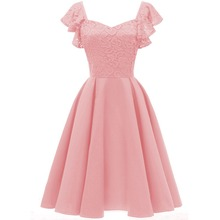 Women Ruffle Sleeve Floral Lace Dress Woman Diamond Neck Retro Vintage Swing Dress Skater Formal Party Dress Pink Wine Navy vintage floral printed party skater dress