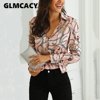 Women Chain Print Casual Blouse Clothing 2019 Spring Fall Long Sleeve Elegant Button Down Shirt Ladies Tops Blouses