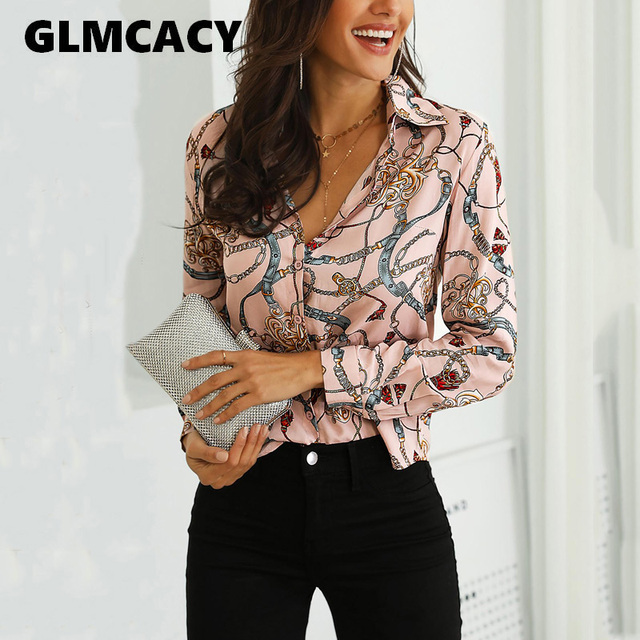 Women Chain Print Long Sleeve Elegant Button Down  Blouses
