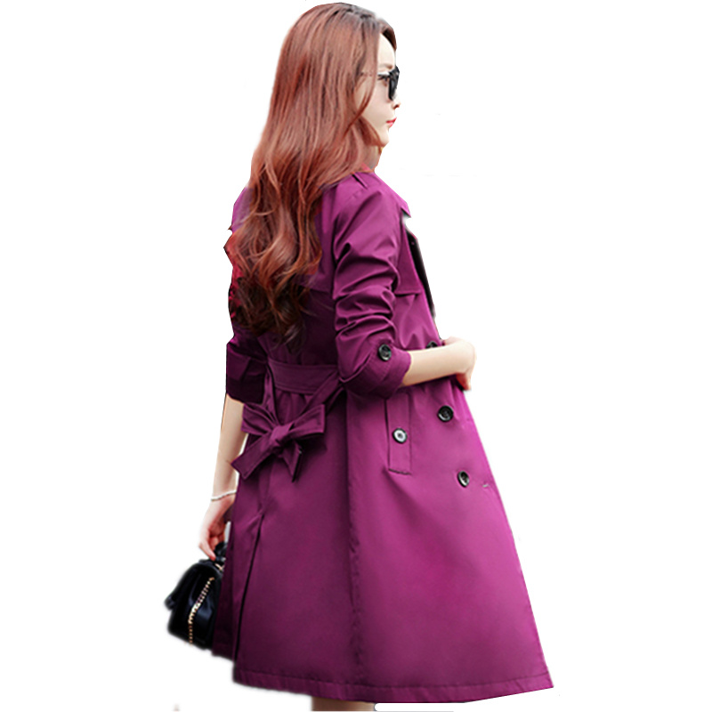 Women   Trench   Coat 2018 New Spring Autumn Fashion Plus Size Slim Long Overcoat Lady Casual Double-breasted Windbreaker Coat C164