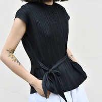 Designer wrinkle plissadas regatas chenrui MIYAKE preto frete grátis