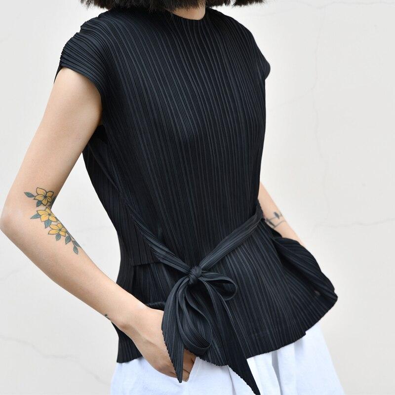 Plissée Livraison Réservoir Designer Rides Noir Miyake Gratuite Hauts htdrCQxsB