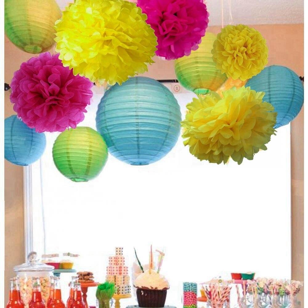 (roze, Blauw, Geel) Boho Home Decoraties Party Decoratie Set (papieren Lantaarn, Pom Pom) Bruiloft Baby Shower Verjaardag Decoratie Sterke Weerstand Tegen Hitte En Hard Dragen