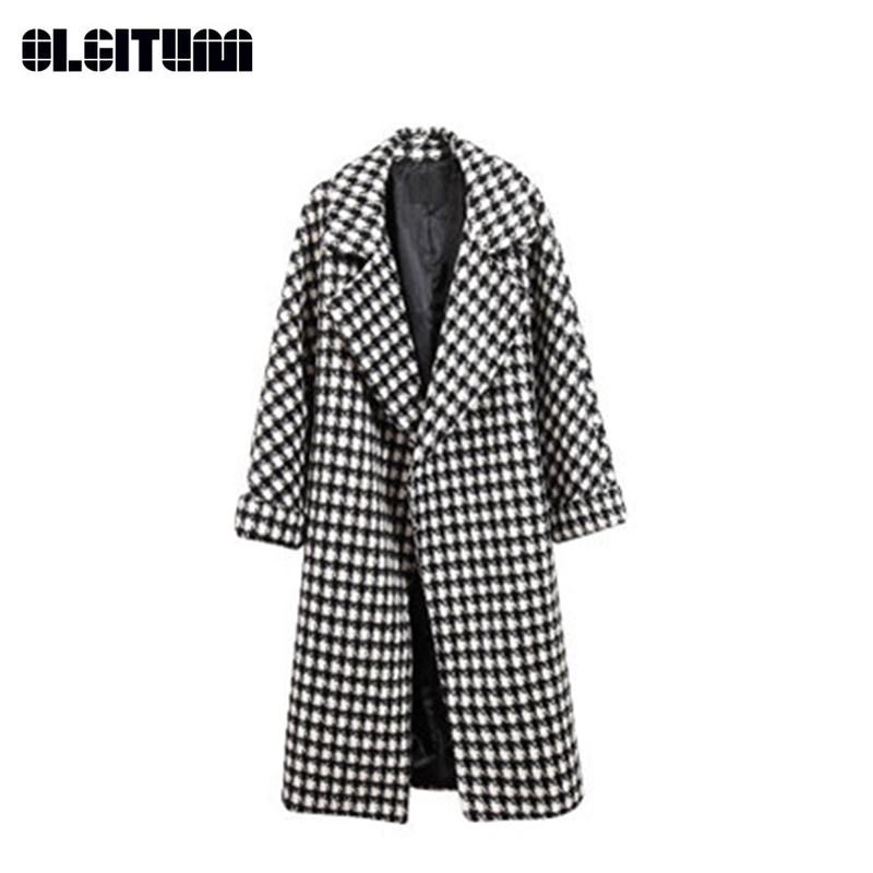 Casual 3xl S Winter Woolen white Over Coat Pocket Long With Elegant knee Outwear New Plaid Black Female 2018 Fashion Loose T6nROOqA