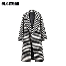 New Winter Fashion Black/White Elegant Plaid Over-knee Woolen Coat with Pocket 2018 S-3XL Long Loose Casual Outwear Female