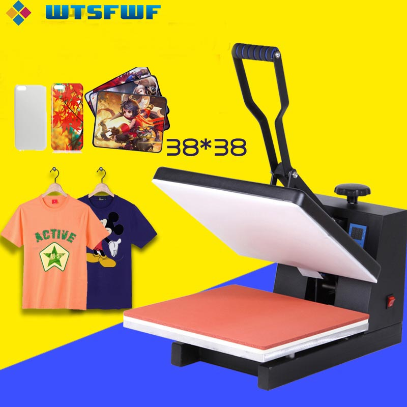 Wtsfwf 38*38CM High Pressure Heat Press Printer Machine 2D Thermal Transfer Printer For Tshirts Cases Pads Printing