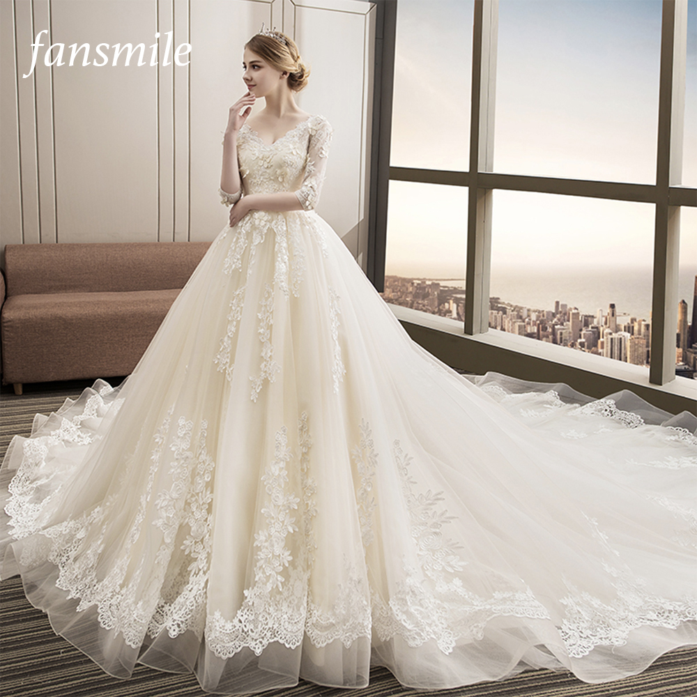 Fansmile Luxury Long Train Vestido De Noiva Lace Wedding Dress 2019 Customized Plus Size Wedding Gowns Bridal Dress FSM-480T