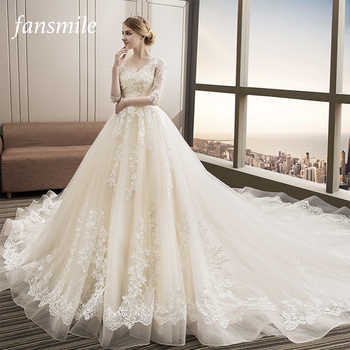 Fansmile Luxury Long Train Vestido De Noiva Lace Wedding Dress 2019 Customized Plus Size Wedding Gowns Bridal Dress FSM-480T - DISCOUNT ITEM  30% OFF All Category
