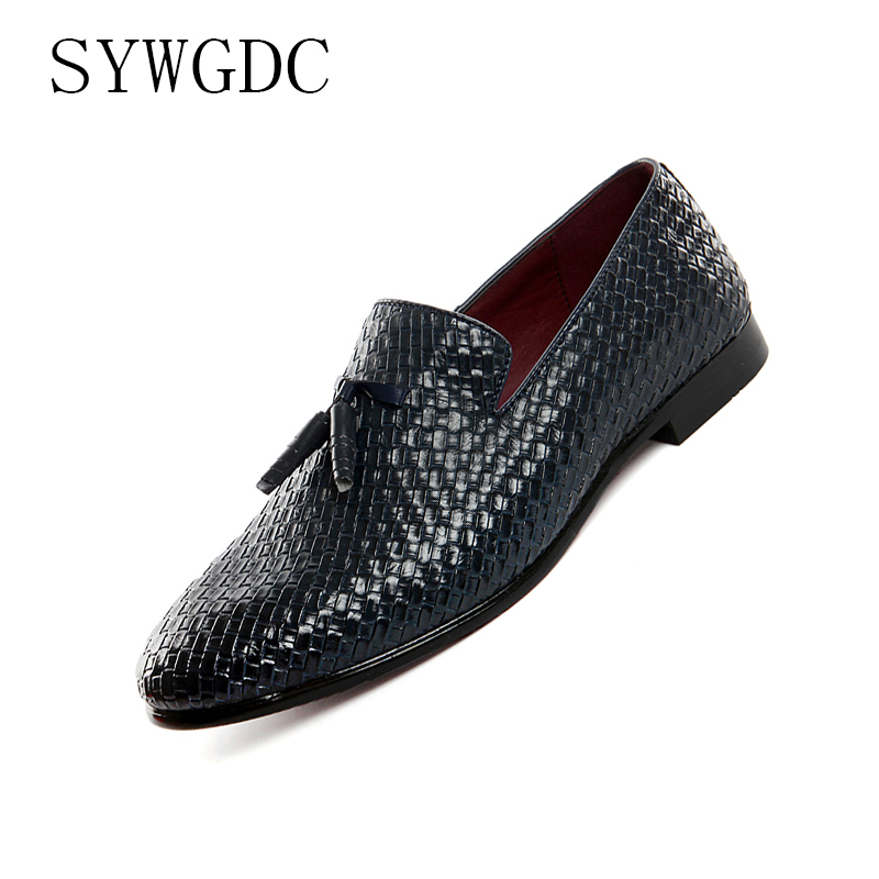 SYWGDC 2019 Men Shoes Luxury Brand Braid Leather Casual Driving Oxfords Shoes Men Loafers Moccasins Italian Shoes For Men Flats in Men 39 s Casual Shoes from Shoes