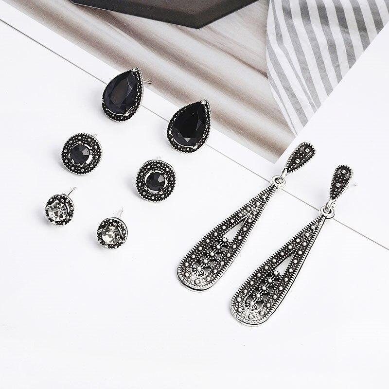 Mode Rétro creux triangle marbre perles Rondes Feuille Boucle d/'oreille fille bijoux 1 paire