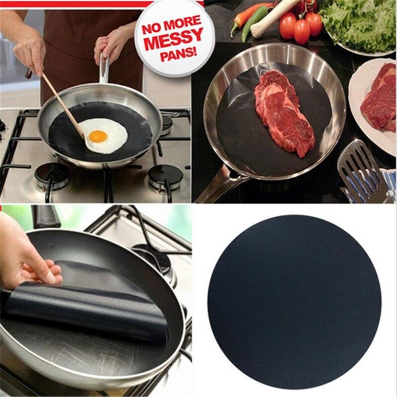2pcs Round Teflon Non stick font b Mat b font Pan Fry Liner Sheet Cooking Wok
