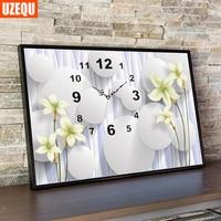 UzeQu 5D Full Diamond Embroidery Watch DIY Diamond Painting Cross Stitch Wall Clock Flower Stones Diamond