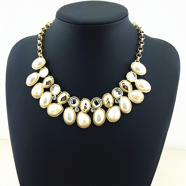 Simulated Pearl Crystal Mosaic HOT Sale Design Necklaces & Pendants Women Noble Glam Chunky Choker Fashion Statement Necklace