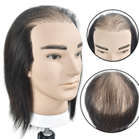 Hot Sale Male 20cm Mannequin Head 100% Real Human Hair Hairstyling Training Dolls Manikin Wig Dummy For Hair Extension Practice