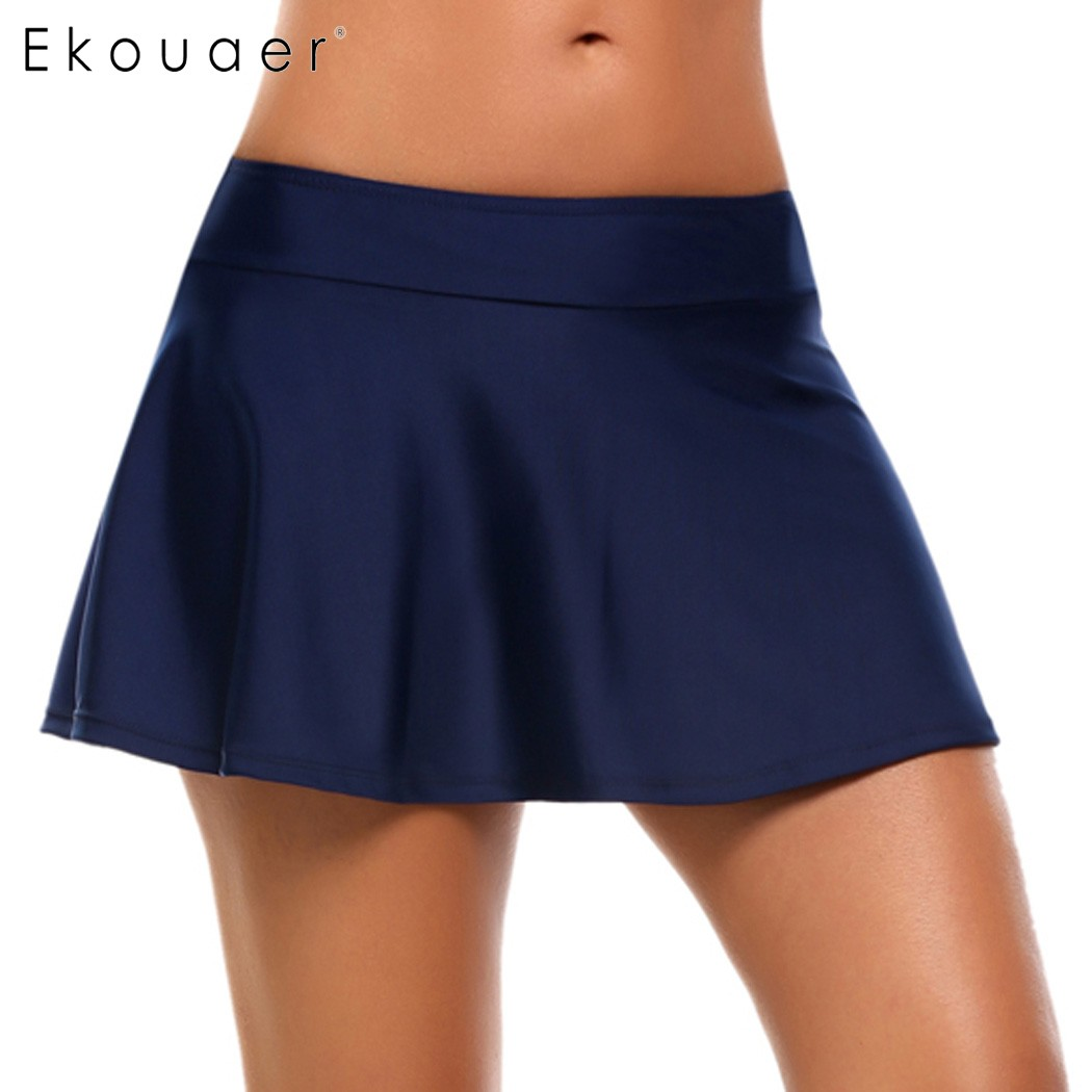 Ekouaer Women Mid Waist Solid Bikini Mini Skirt Summer Bikini Bottom Skirt 2018 New Swimwear Women Slim Fit Swimsuit Skirt