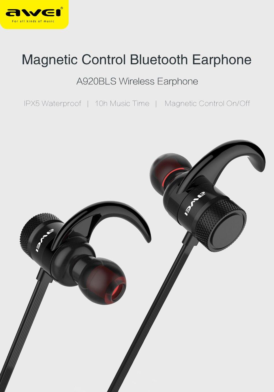 AWEI A920BLS Bluetooth Headphone Wireless Earphone Sport Headset Waterproof Earbuds AWEI A920BLS Bluetooth earbuds HTB1Kp9PRpXXXXXcXXXXq6xXFXXXa