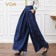 цены VOA Heavy Silk Palazzo Pants Women Office Wide Leg Pants Long Trousers Plus Size Loose Navy Blue Casual Belt Basic Broeken K370