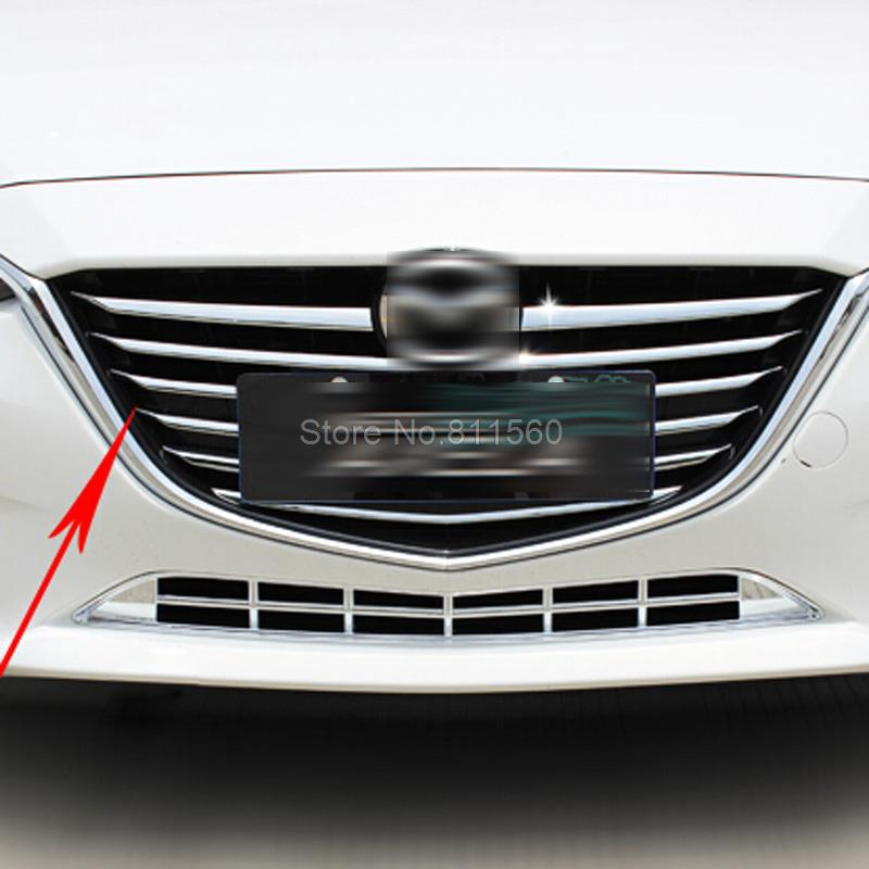 For Mazda 3 Axela 2014 2015 Chrome Front Head Center Grill Grilles Cover Decoration Trim Racing Grills Car Decoration Trim 11pcs chrome front bottom grill grid grille cover trim for mazda 3 axela m3 2014 2016