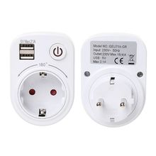 Wall Charger Travel Adapter Electrical Socket With Dual USB Ports Power Switch