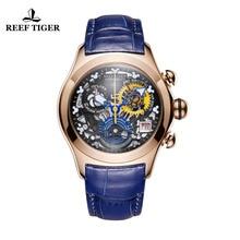 2019 Reef Tiger/RT Luxury Rose Gold Sport Watches Swiss Ronda Movement Skeleton Watches Date Women Fashion Watches RGA7181