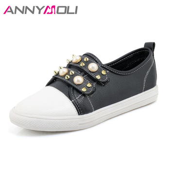 ANNYMOLI Shoes Women Flats Rivets Flat Shoes Round Toe Pearls Loafers 2018 Spring Casual School Shoes Red White chaussures femme