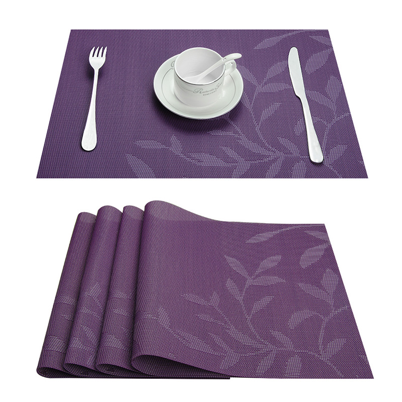 Sæt med 4 PVC blomstermønstre Placemats til spisebord Runner Linens stedmåtte i Køkken Tilbehør Cup Vinmåtte