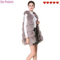 Real Fur Vest Fur Vest With Side Zipper Genuine Leather 75cm New Design 7 Color Fox Fur Gilet for Ladies in Winter