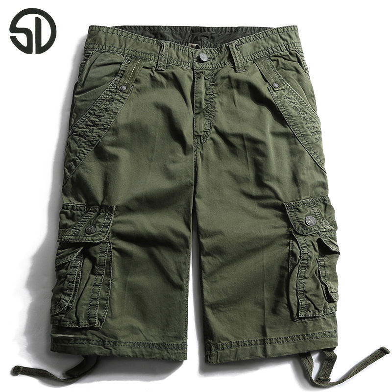 2017 New Style Summer Multi-pocket Camouflage Mens Shorts Casual Loose Knee-length Mens Cargo Shorts Male Half Short Trousers