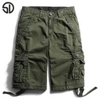 2017 New Style Summer Multi Pocket Camouflage Mens Shorts Casual Loose Knee Length Mens Cargo Shorts