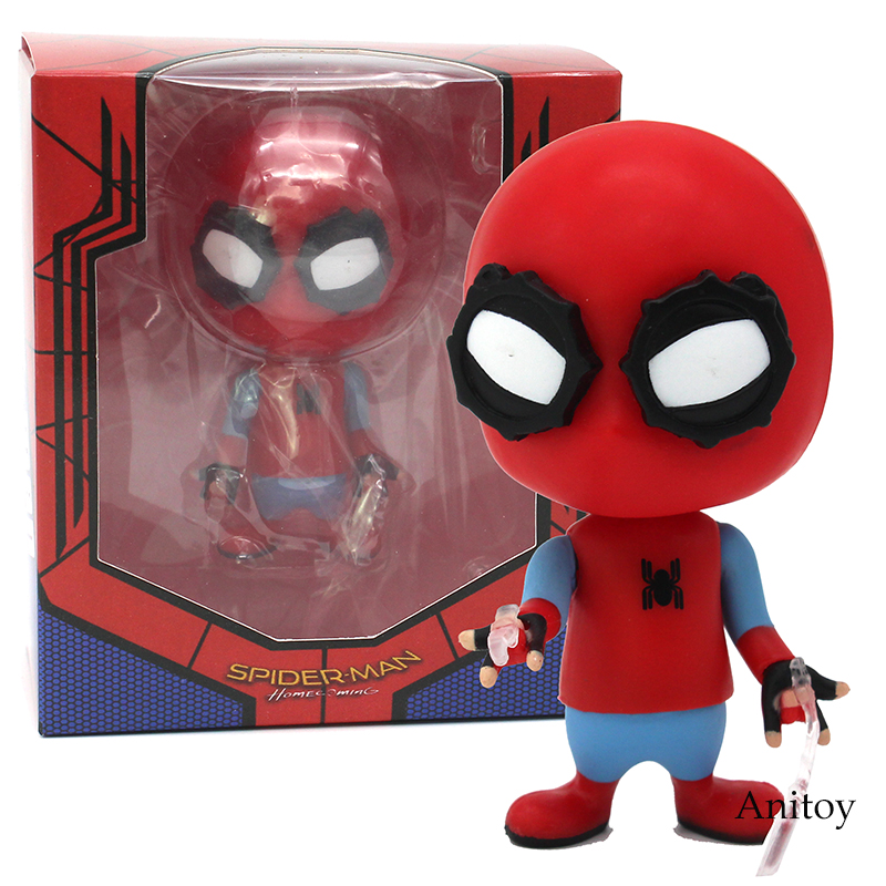 Spider Man Gliding Q Version Spider-Man Homecoming Bobble Head Spiderman PVC Action Figure Model Toy 9.5cm