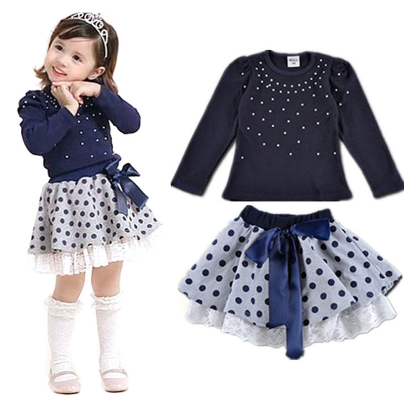 Children's clothing Spring and Autumn new Cotton Girl Pearl Point Bowknot Skirt Set Navy blue T-shirt+skirt 2 3 4 5 6 7 2017 new spring women maternity t shirt