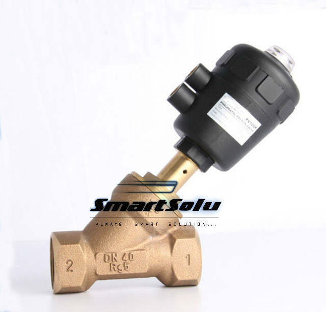 1 1/4 inch 2/2 Way single acting Gunmetal body pneumatic angle seat valve normally closed 63mm actuator free shipping bspt 1 2 normally closed