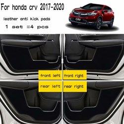 4 pièces cuir voiture-style Anti coup de pied Anti-dité portes tapis accessoires pour Honda Crv cr-v 5th génération 2017 2018 2019 2020
